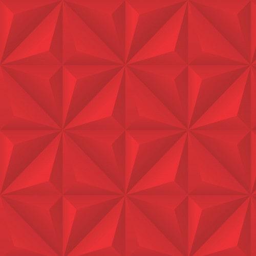 Papel De Parede Adesivo Efeito Gesso 3D - Gesso Triangular Vermelho