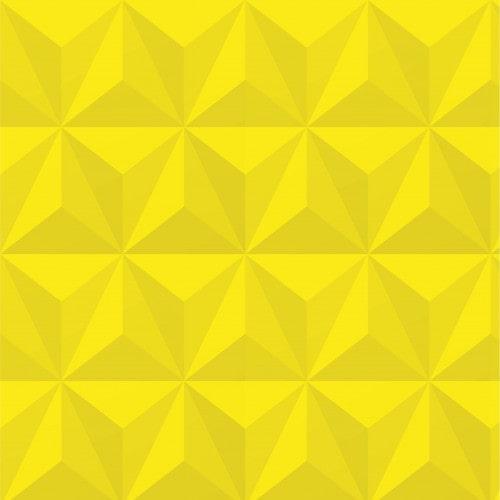 Papel De Parede Adesivo Efeito Gesso 3D - Triângulos Laterais Amarelo