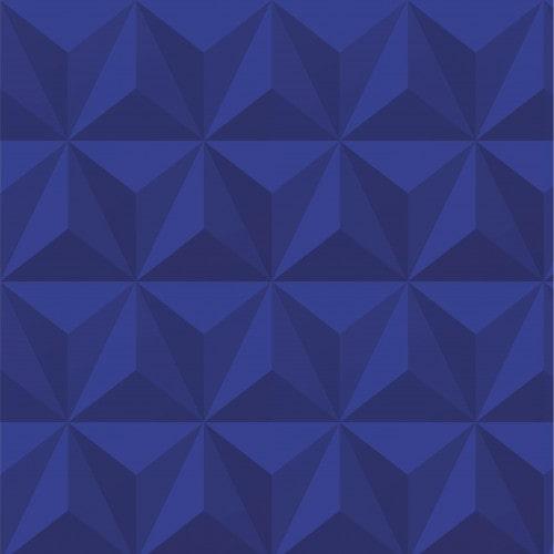 Papel De Parede Adesivo Efeito Gesso 3D - Triângulos Laterais Azul