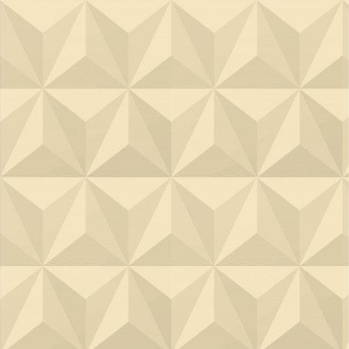 Papel De Parede Adesivo Efeito Gesso 3D - Triângulos Laterais Bege