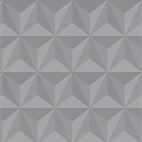 Papel De Parede Adesivo Efeito Gesso 3D - Triângulos Laterais Cinza