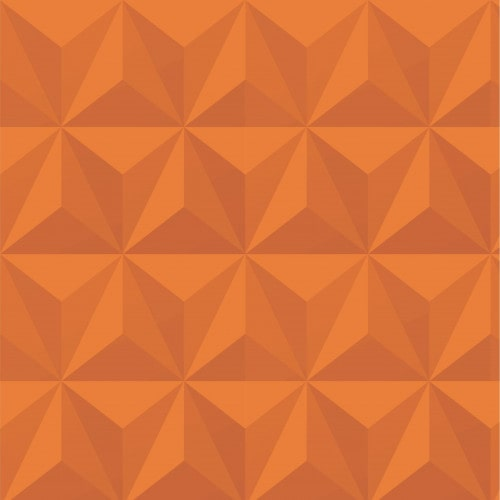 Papel De Parede Adesivo Efeito Gesso 3D - Triângulos Laterais Laranja