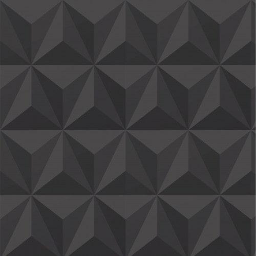 Papel De Parede Adesivo Efeito Gesso 3D - Triângulos Laterais Preto