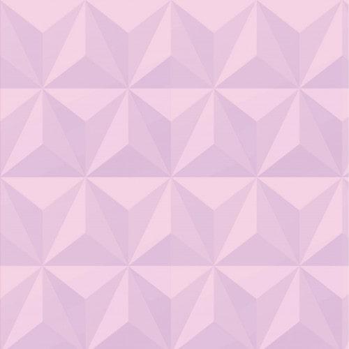 Papel De Parede Adesivo Efeito Gesso 3D - Triângulos Laterais Rosa Bebê
