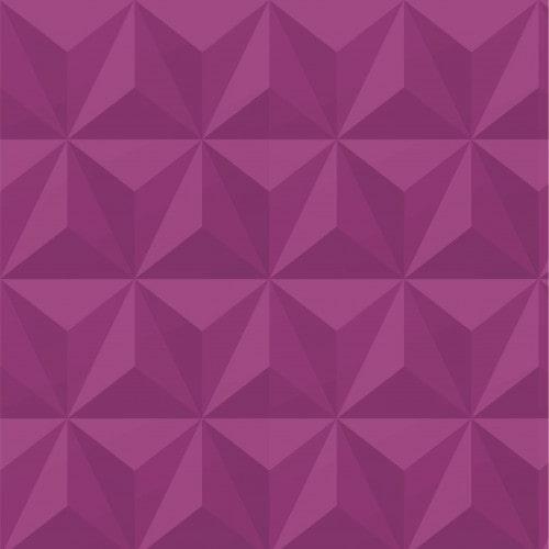 Papel De Parede Adesivo Efeito Gesso 3D - Triângulos Laterais Roxo