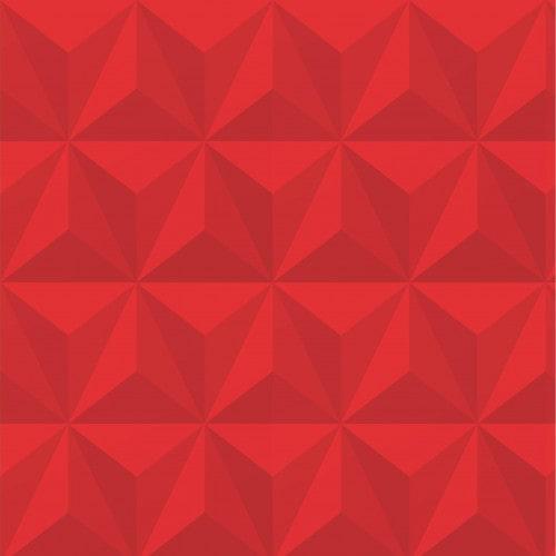 Papel De Parede Adesivo Efeito Gesso 3D - Triângulos Laterais Vermelho
