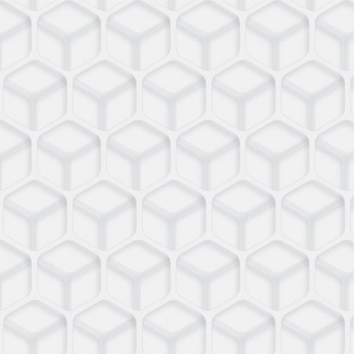 Papel De Parede Adesivo Efeito Gesso 3D - Cubos Branco Gelo