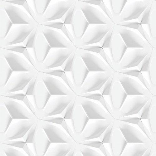 Papel De Parede Adesivo Efeito Gesso 3D - Abstrato Branco Gelo