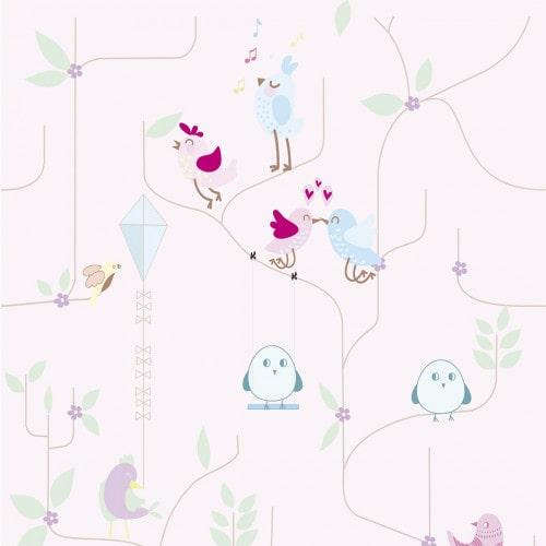 Papel De Parede Adesivo Baby - Baby  Passarinhos Árvores Fundo Rosa