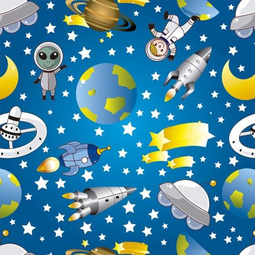 Papel De Parede Adesivo Infantil  - Infantil Astronauta Espaço Sideral