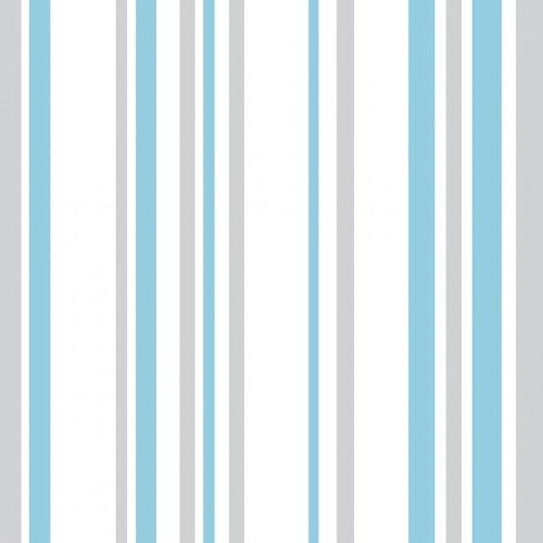 Papel De Parede Adesivo Listrado - Listras Azul Tíffany Cinza