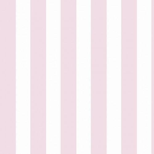 Papel De Parede Adesivo Listrado - Listras Branca E Rosa