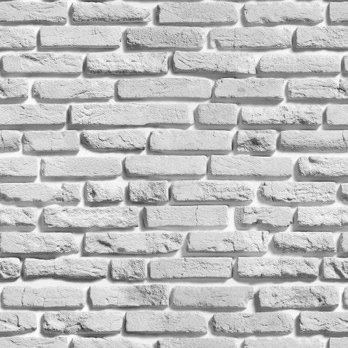 Papel De Parede Adesivo 3d Tijolo - Tijolinho a Vista Branco Gelo Rústico