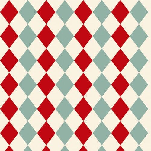 Papel De Parede Adesivo Xadrez -  Xadrez Bege Losangos Vermelho Azul