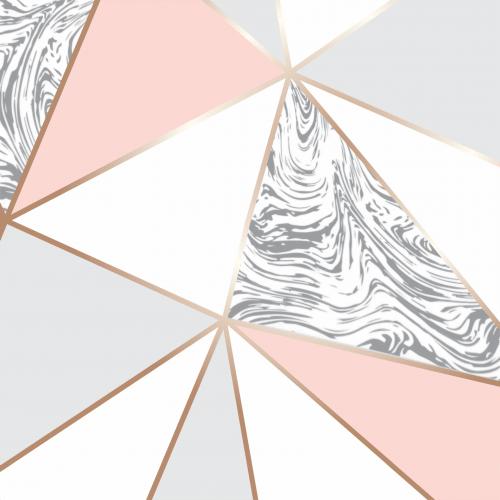 Papel De Parede Adesivo Vinílico Zara - Zara Rose Rosa Branco Mármore Dourado