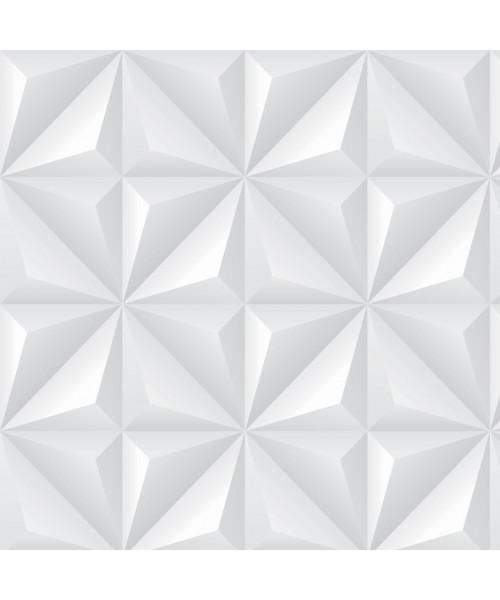 Papel De Parede Adesivo Efeito Gesso 3D - Gesso Triangular Branco Gelo
