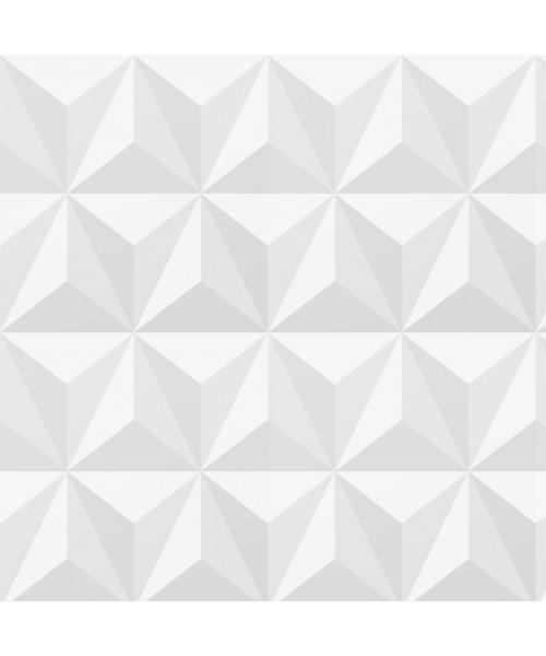 Papel De Parede Adesivo Efeito Gesso 3D - Triângulos Laterais Branco Gelo