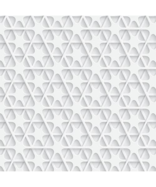 Papel De Parede Adesivo Efeito Gesso 3D - Triângulos Abstratos Branco Gelo
