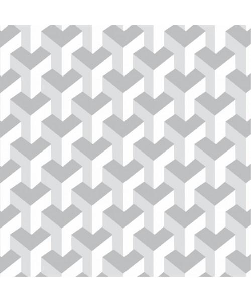 Papel De Parede Adesivo Efeito Gesso 3D - Blocos Gesso Branco Gelo