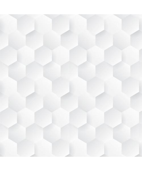Papel De Parede Adesivo Efeito Gesso 3D - Colmeia Branco Gelo