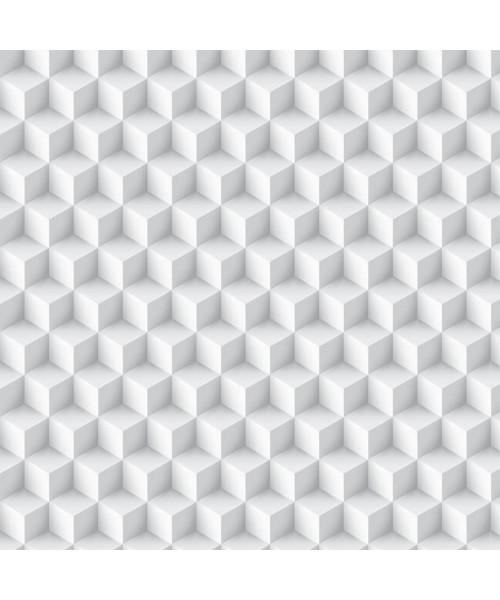 Papel De Parede Adesivo Efeito Gesso 3D - Tapiz Cubos Branco Gelo