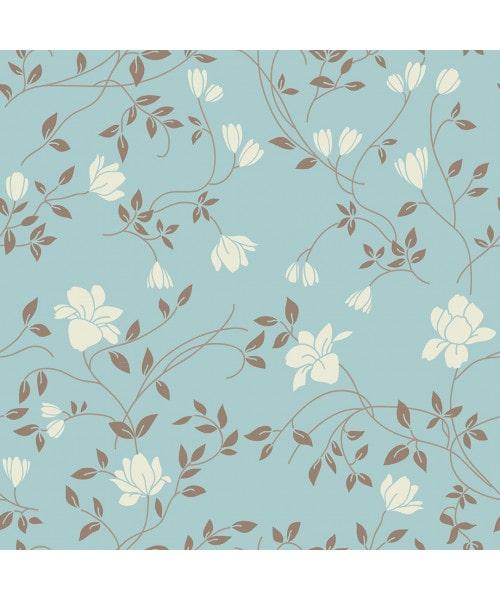 Papel De Parede Adesivo Floral - Floral Azul Turquesa Flores Tom Nude