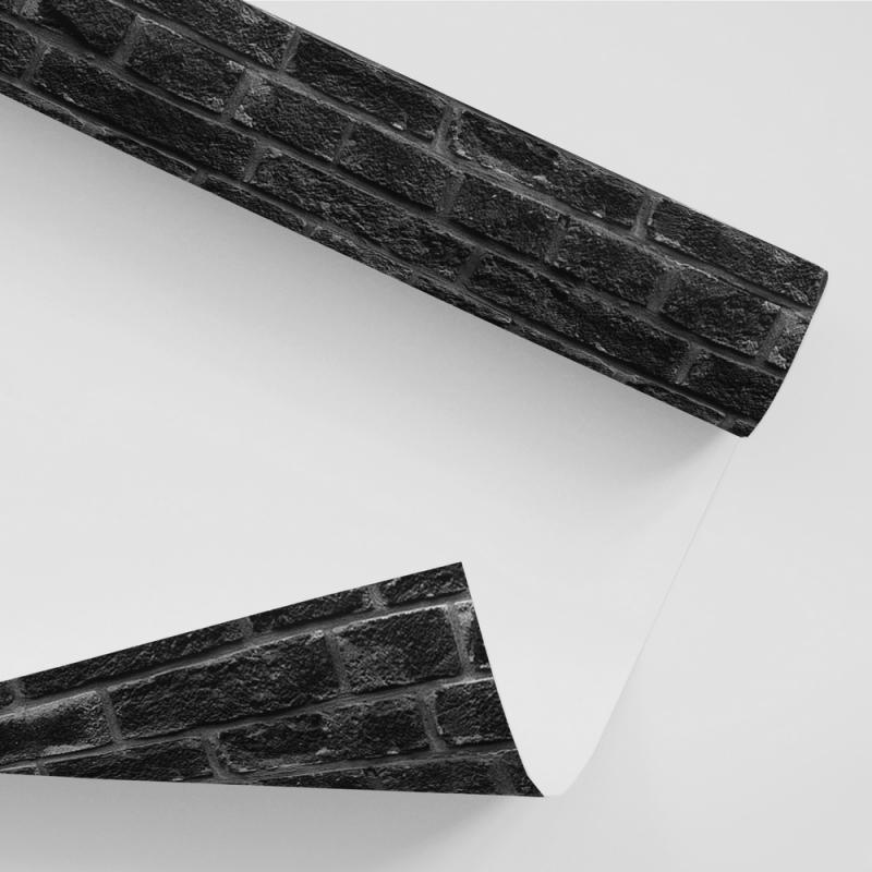 Papel De Parede Tijolo - Tijolinhos a Vista Preto Rústico